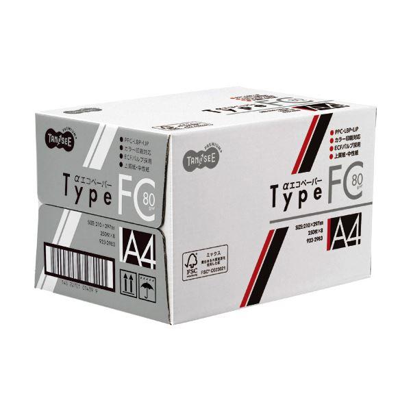 (まとめ) TANOSEE αエコペーパータイプFC A4 標準 80g 1セット(2000枚:250枚×8冊) 【×5セット】
