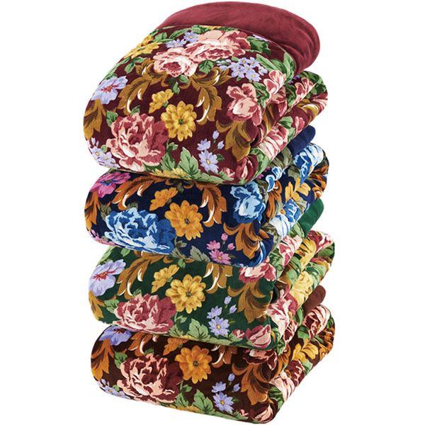 吸湿発熱機能付 ボリュームたっぷり5層構造毛布 シングル4色組(ワイン・ブルー・グリーン・ブラウン)