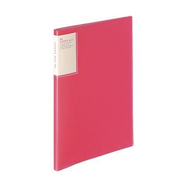(まとめ)コクヨ クリヤーブック(キャリーオール)固定式・背ポケット A4タテ 20ポケット 背幅13mm ピンク ラ-5001P 1セット(6冊)【×5セット】