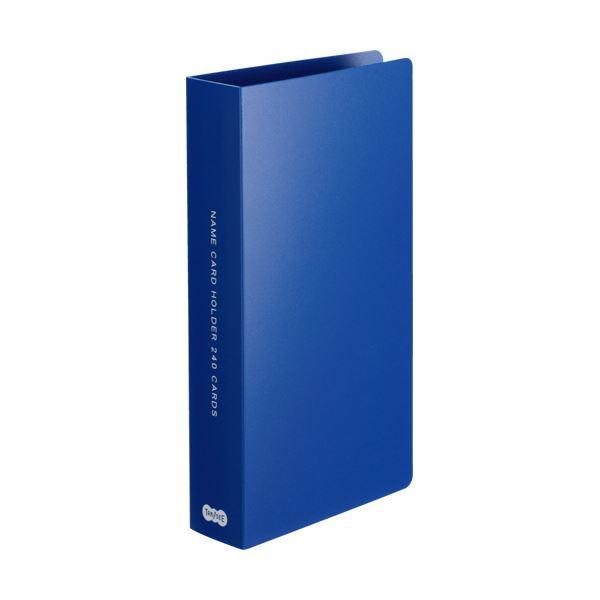 (まとめ) TANOSEE 名刺ホルダー 固定式コンパクト 240名用 ヨコ入れ ブルー 1冊 【×30セット】