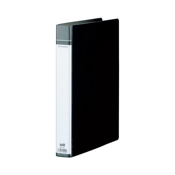 (まとめ) TANOSEE 30穴バインダー(貼り表紙) A4タテ 100枚収容 背幅42mm 黒 1セット(10冊) 【×5セット】