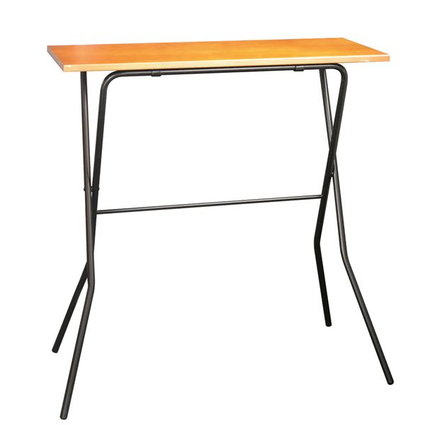 モダン 折りたたみテーブル 【ミドルブラウン×ブラック】 幅90cm 耐荷重30kg 日本製 スチールパイプ 『エフカウンターテーブル』【代引不可】