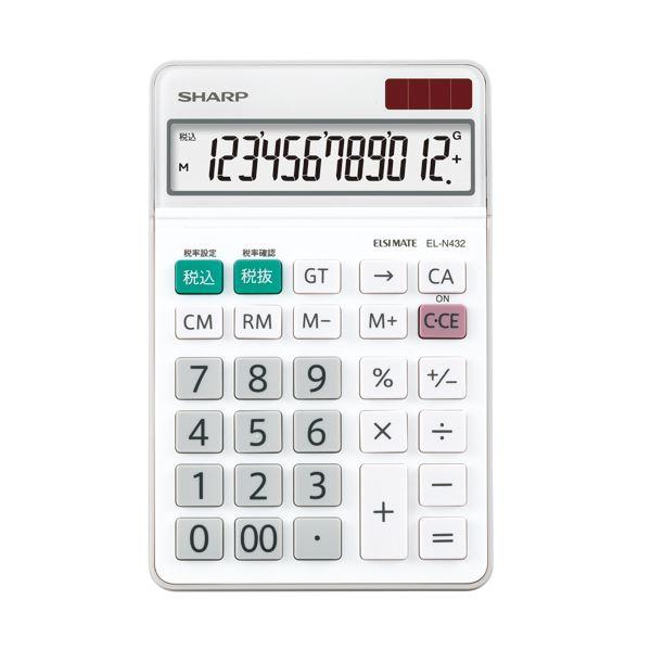 (まとめ) シャープ エルシーメイト電卓 12桁ナイスサイズ EL-N432-X 1台 【×10セット】