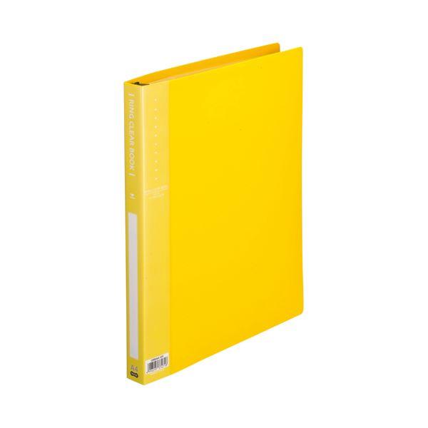 (まとめ) TANOSEE リングクリヤーブック(クリアブック) A4タテ 30穴 10ポケット付属 背幅25mm イエロー 1セット(10冊) 【×5セット】