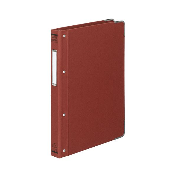 (まとめ) コクヨ バインダーMP(布貼り) B5タテ 26穴 100枚収容 背幅33mm 角金付き 赤 ハ-110R 1冊 【×10セット】
