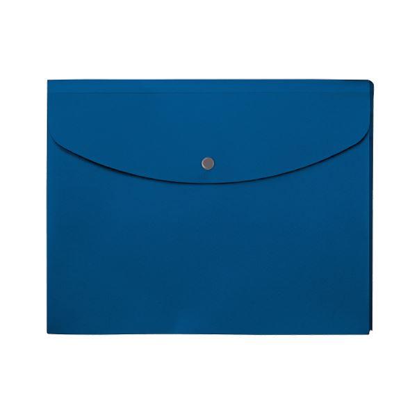 (まとめ) プラス シンプルワークポケット付エンベロープ マチ付 A4ヨコ ブルー FL-121CH 1枚 【×100セット】