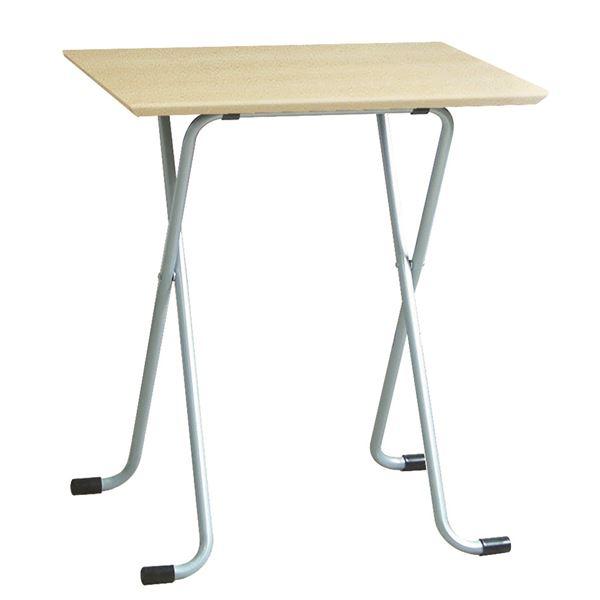 折りたたみテーブル 【角型 ナチュラル×シルバー】 幅60cm 日本製 木製 スチールパイプ 〔ダイニング リビング〕【代引不可】