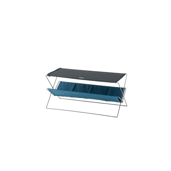 折りたたみテーブル/サイドテーブル 【ネイビー】 幅90cm スチール コットン ポリエステル 〔アウトドア キャンプ 釣り〕