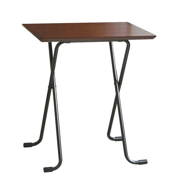 折りたたみテーブル 【角型 ダークブラウン×ブラック】 幅60cm 日本製 木製 スチールパイプ 〔ダイニング リビング〕【代引不可】