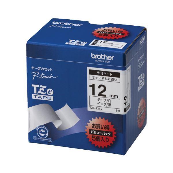 (まとめ)ブラザー BROTHER ピータッチ TZeテープ ラミネートテープ 12mm 白/黒文字 業務用パック TZE-231V 1パック(5個)【×3セット】