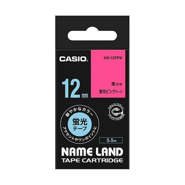 (まとめ) カシオ CASIO ネームランド NAME LAND スタンダードテープ 12mm×5.5m 蛍光ピンク/黒文字 XR-12FPK 1個 【×10セット】