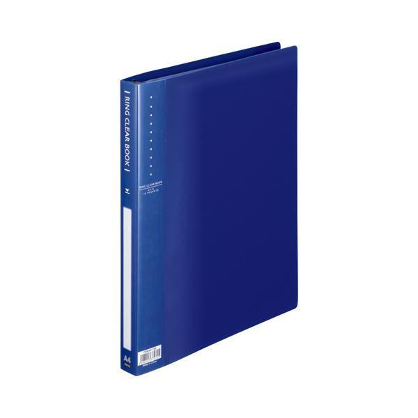 (まとめ) TANOSEE リングクリヤーブック(クリアブック) A4タテ 30穴 10ポケット付属 背幅25mm ブルー 1セット(10冊) 【×5セット】