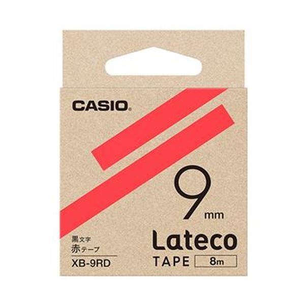 (まとめ)カシオ ラテコ 詰替用テープ9mm×8m 赤/黒文字 XB-9RD 1セット(5個)【×3セット】