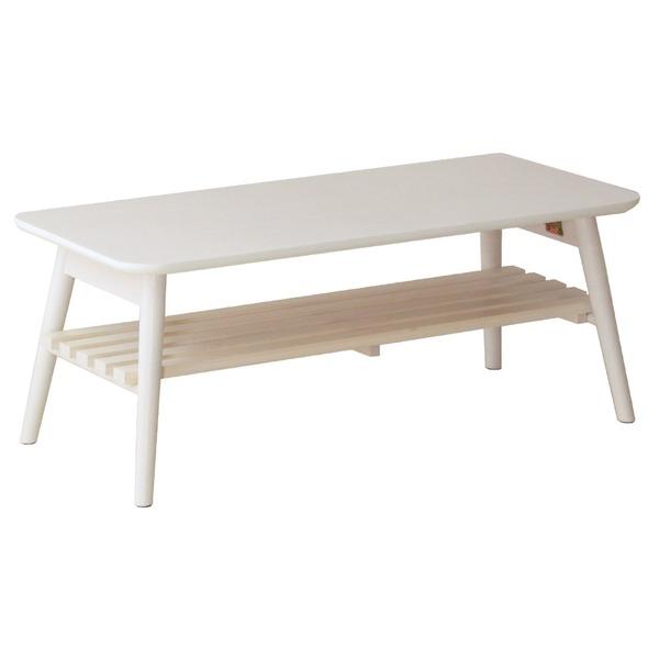折りたたみテーブル 棚付き ホワイト 幅90cm【代引不可】