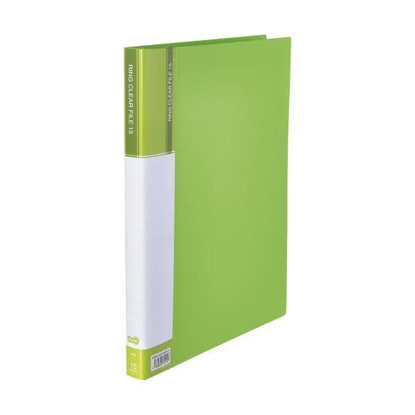 (まとめ)TANOSEEPPクリヤーファイル(差替式) A4タテ 30穴 15ポケット ライトグリーン 1セット(10冊)【×3セット】