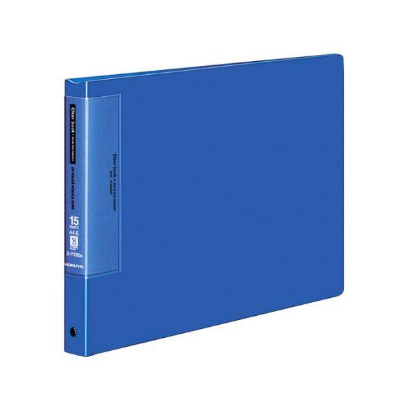 コクヨ クリヤーブック(ウェーブカットポケット・替紙式)A4ヨコ 20穴 15ポケット付属 背幅27mm 青 ラ-T725B 1セット(10冊)