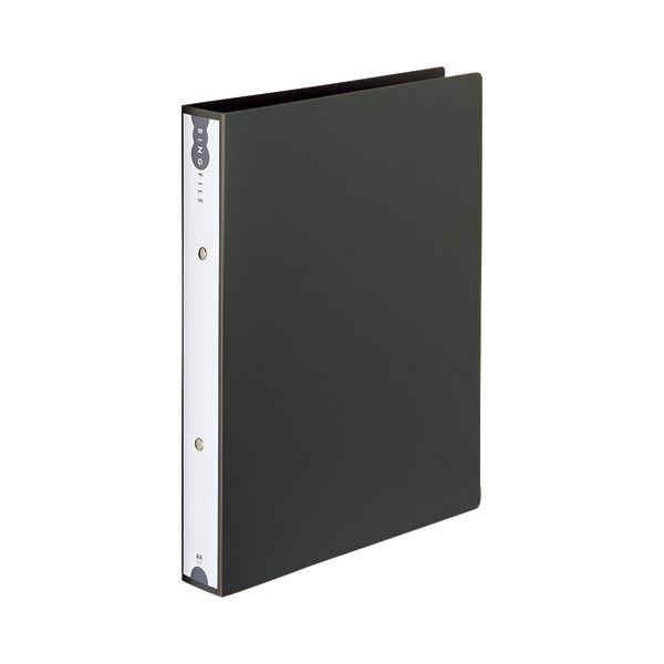 (まとめ) TANOSEE リングファイル(PP表紙) A4タテ 2穴 260枚収容 背幅42mm ダークグレー 1冊 【×30セット】