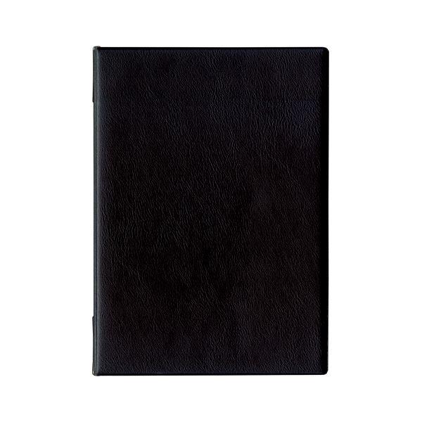 (まとめ) オープン工業 メニューファイル レザー調 4頁 A4 黒【×5セット】