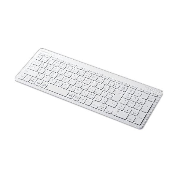 (まとめ)エレコムBluetooth薄型コンパクトキーボード ホワイト TK-FBP101WH 1台【×3セット】