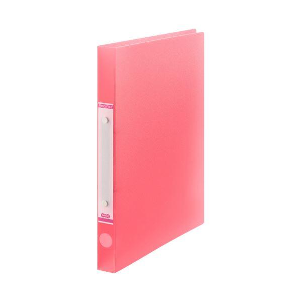 (まとめ) TANOSEEOリングファイル(半透明表紙) A4タテ リング内径20mm ピンク 1セット(10冊) 【×10セット】