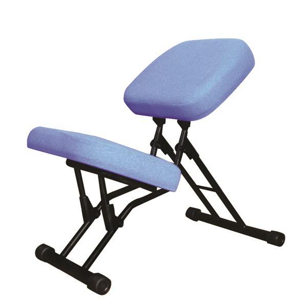 学習椅子/ワークチェア 【ブルー×ブラック】 幅440mm 日本製 折り畳み スチールパイプ 『セブンポーズチェア』【代引不可】