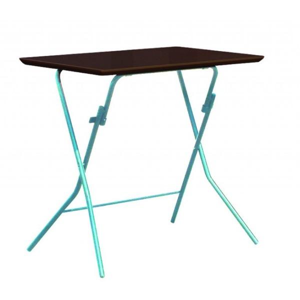 折りたたみテーブル 【幅75cm ダークブラウン×シルバー】 日本製 木製 スチールパイプ 『スタンドタッチテーブル755』【代引不可】