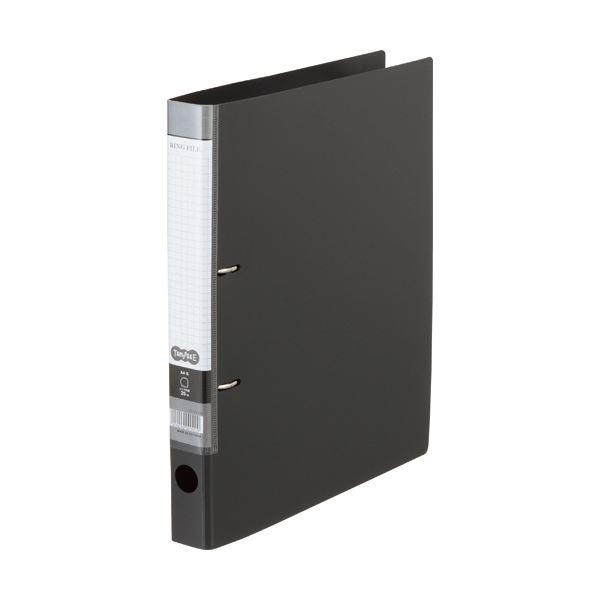 (まとめ) Dリングファイル A4-S 背幅37mm ダークグレー 10冊 【×10セット】