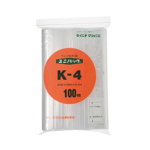 (まとめ) セイニチ ユニパック チャック付ポリエチレン ヨコ280×タテ400×厚み0.04mm K-4 1パック(100枚) 【×10セット】