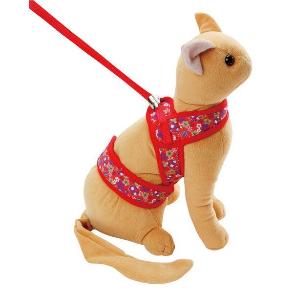 (まとめ)猫小町ソフトハーネスリード まり S レッド(ペット用品)【×3セット】