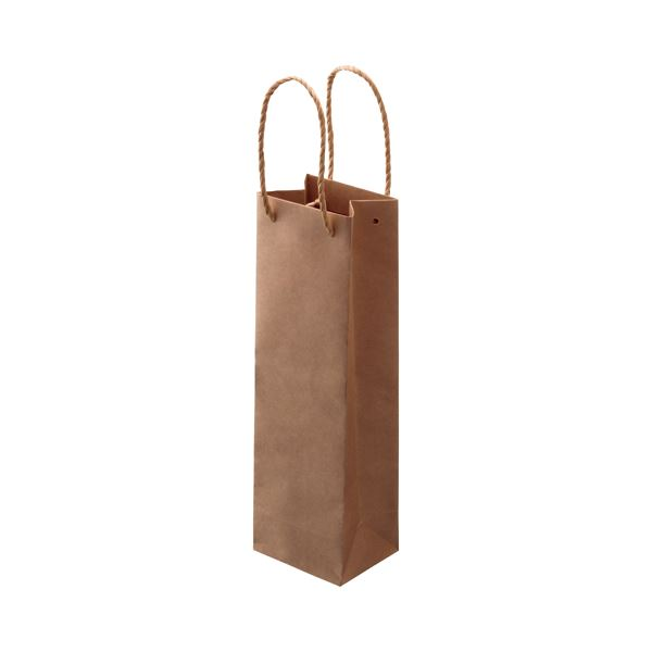 (まとめ) TANOSEE 紙手提袋 ワイン用 タテ長 ヨコ110×タテ360×マチ幅90mm 茶 1パック(30枚) 【×5セット】
