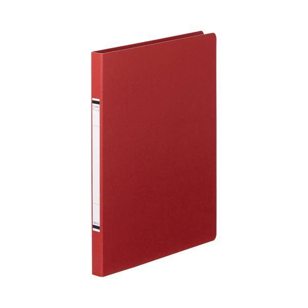 (まとめ) TANOSEE クランプファイル(紙表紙) A4タテ 100枚収容 背幅18mm 赤 1セット(10冊) 【×10セット】