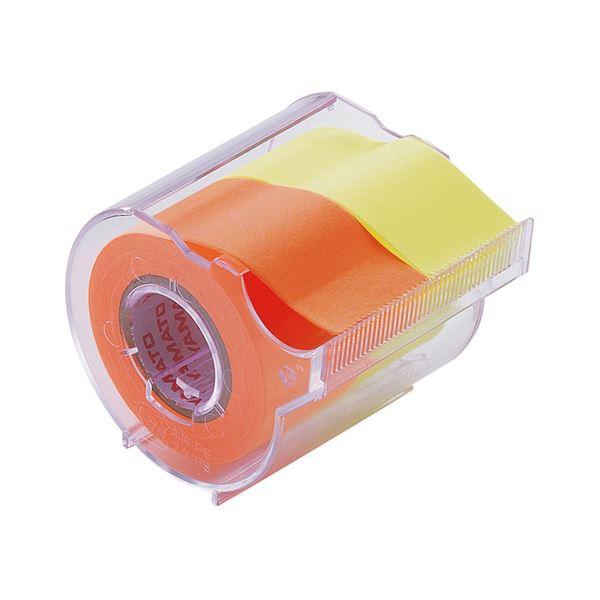 (まとめ) ヤマト メモック ロールテープ カッター付 25mm幅 レモン&オレンジ NORK-25CH-6C 1個 【×30セット】