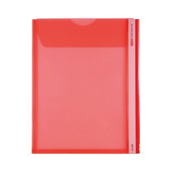 (まとめ) キングジム Mホルダー A4タテ 赤フタ付 とめまるタック1組付 733W 1セット(5枚) 【×10セット】