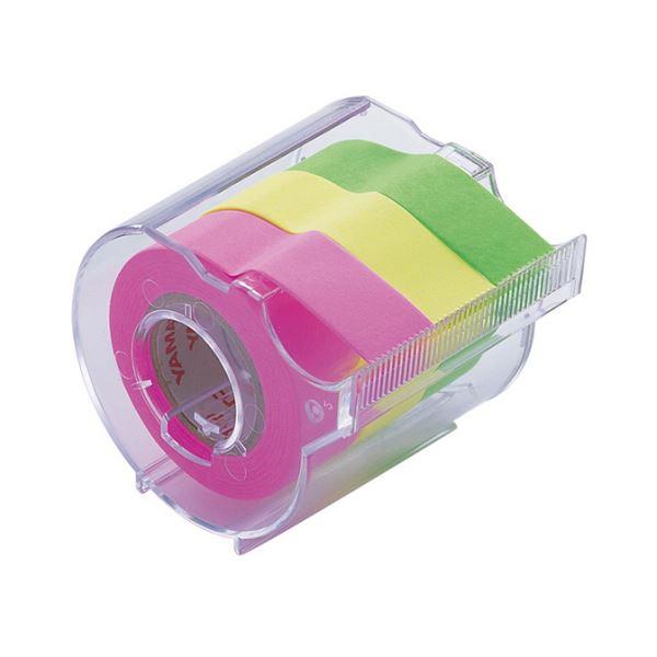 (まとめ) ヤマト メモック ロールテープ カッター付 15mm幅 ライム&レモン&ローズ RK-15CH-B 1個 【×30セット】