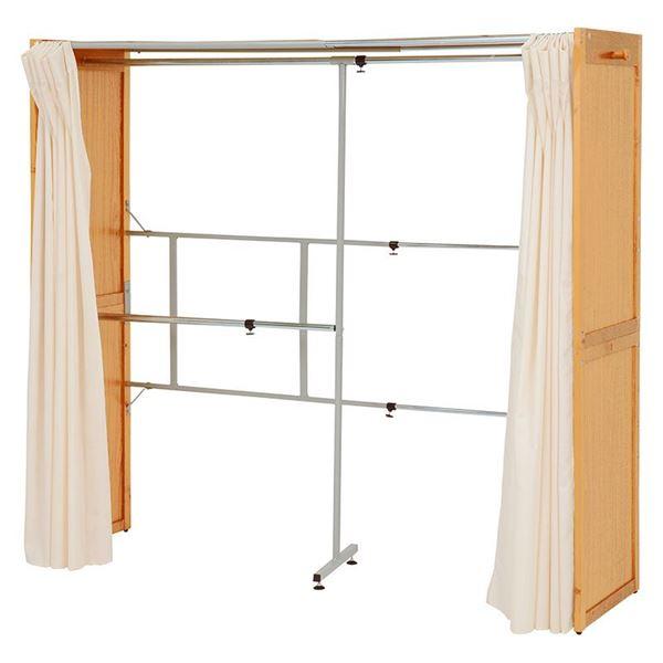 伸縮式 クローゼット/衣類収納 【幅115~195cm×高さ170cm ナチュラル】 木製 スチール 洗えるカーテン付き【代引不可】