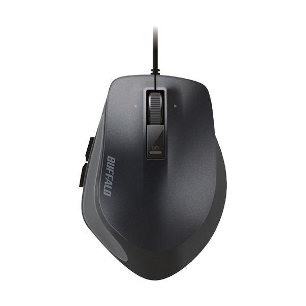 (まとめ) バッファロー 有線 BlueLEDプレミアムフィットマウス Mサイズ ブラック BSMBU500MBK 1個 【×10セット】
