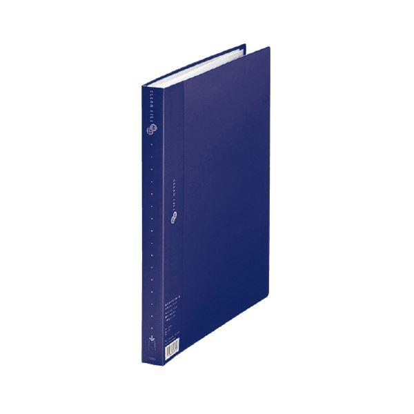 (まとめ) プラス クリアーファイルスーパーエコノミータイプ A4タテ 40ポケット 背幅25mm ネイビー FC-124EL 1冊 【×30セット】