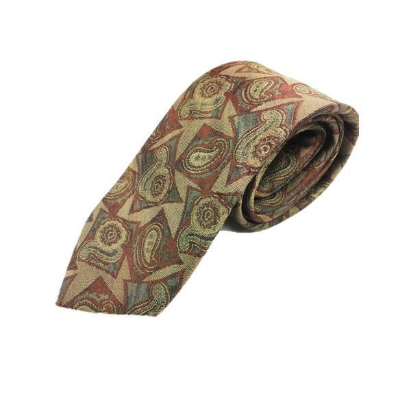 西陣手縫い仕立て ほぐし染め シルク100%ネクタイ ブロンズ&レンガ