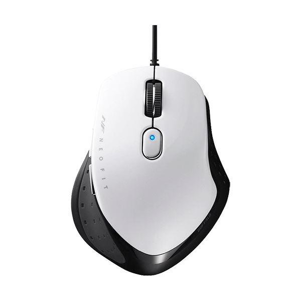 (まとめ)バッファロー 有線 BlueLED5ボタン ネオフィットマウス Mサイズ ホワイト BSMBU510MWH 1個【×3セット】
