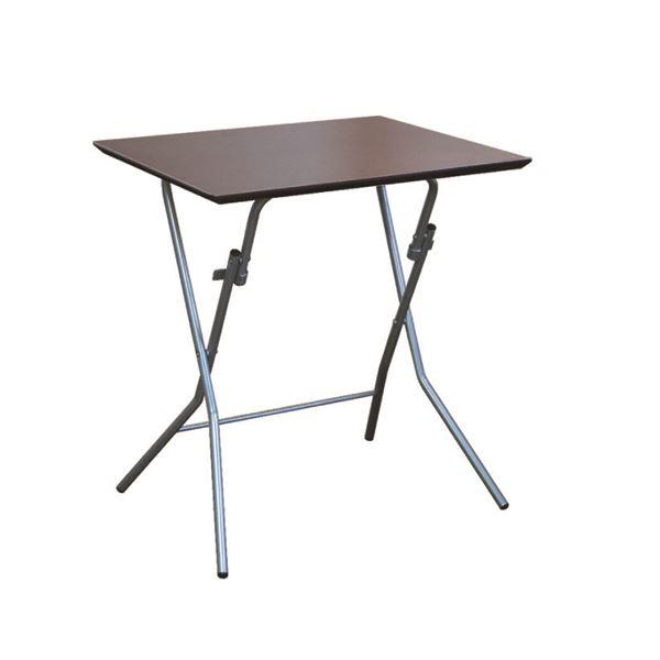 折りたたみテーブル 【幅63.5cm ダークブラウン×ブラック】 日本製 木製 スチールパイプ 『スタンドタッチテーブル645』【代引不可】