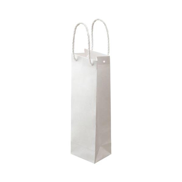 (まとめ) TANOSEE 手提袋 ワインボトル用 丸紐 ヨコ110×タテ360×マチ幅90mm 白無地 1パック(30枚) 【×5セット】