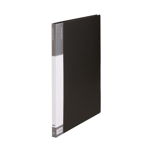 (まとめ)TANOSEEクリヤーファイル(台紙入) B4タテ 20ポケット 背幅15mm ダークグレー 1セット(10冊)【×3セット】