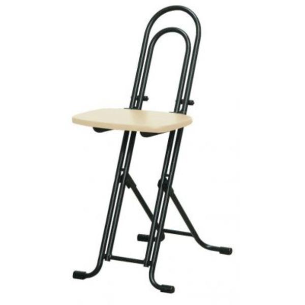 シンプル 折りたたみ椅子 【ナチュラル×ブラック 幅330mm】 日本製 スチールパイプ 『ベストホビーチェア』【代引不可】