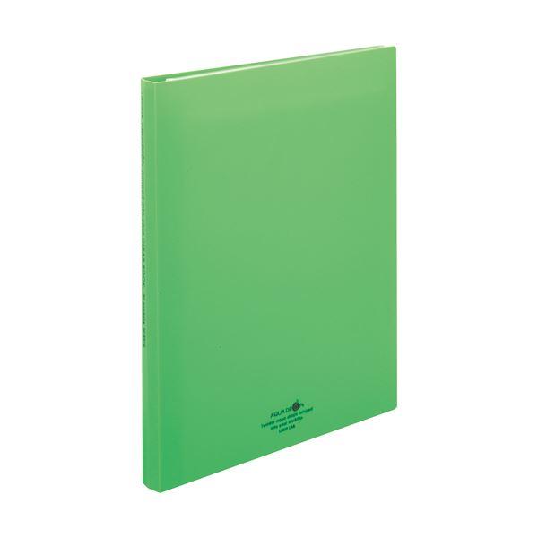 クリヤーブック(クリアブック)(ポケット交換タイプ) N5016-6 30穴 1冊 DROPs リヒトラブ A4タテ 黄緑 30ポケット付属 AQUA 背幅25mm 【×30セット】 (まとめ)