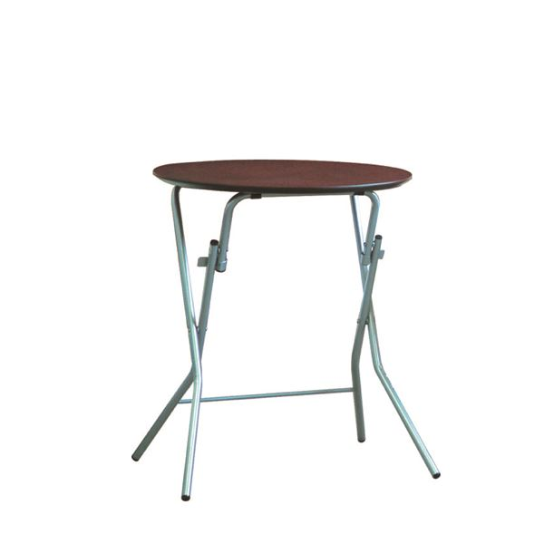折りたたみテーブル 【幅63.5cm 円形 ダークブラウン×シルバー】 日本製 木製 スチールパイプ 『スタンドタッチテーブル60』【代引不可】