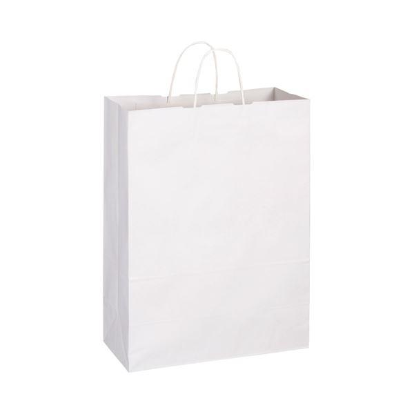 (まとめ) TANOSEE 手提袋 丸紐 特大 ヨコ360×タテ480×マチ幅170mm 白無地 1パック(50枚) 【×5セット】