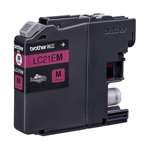 (まとめ) ブラザー インクカートリッジ マゼンタ大容量 LC21EM 1個 【×10セット】