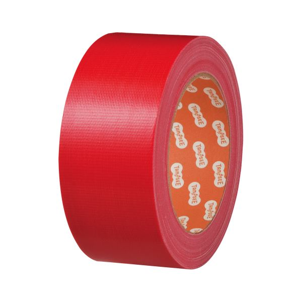(まとめ) TANOSEE 布テープ(カラー) 50mm×25m 赤 1巻 【×30セット】