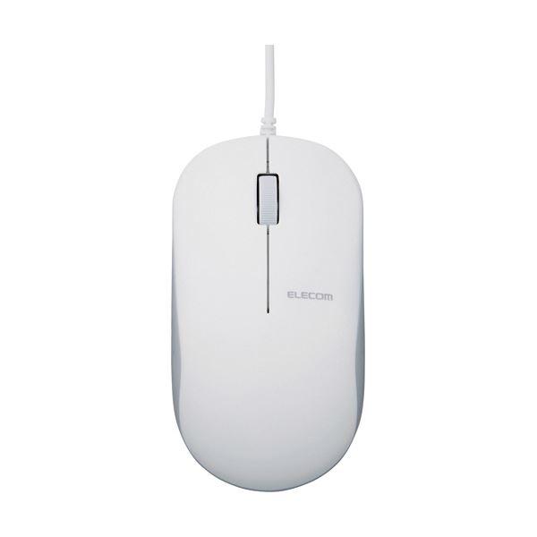 (まとめ)エレコム 有線3ボタンBlueLEDマウス ホワイト M-K7UBWH/RS 1個【×5セット】