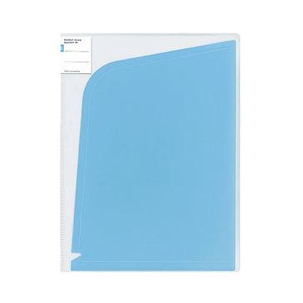 (まとめ)コクヨ ホルダーブック(ポケット:4)A4(A3)ライトブルー フ-5702LB 1セット(5枚)【×10セット】